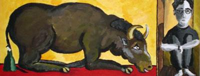 23. 05. -23. 07. 2004 – Die Unterdrückung des Genius (Acryl auf Leinwand, 20 cm X 50 cm)