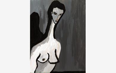 Weiblicher Akt mit langem Hals