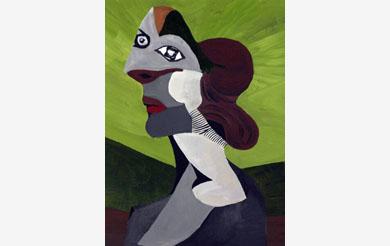 Weibliche Figur (grüner Hintergrund)