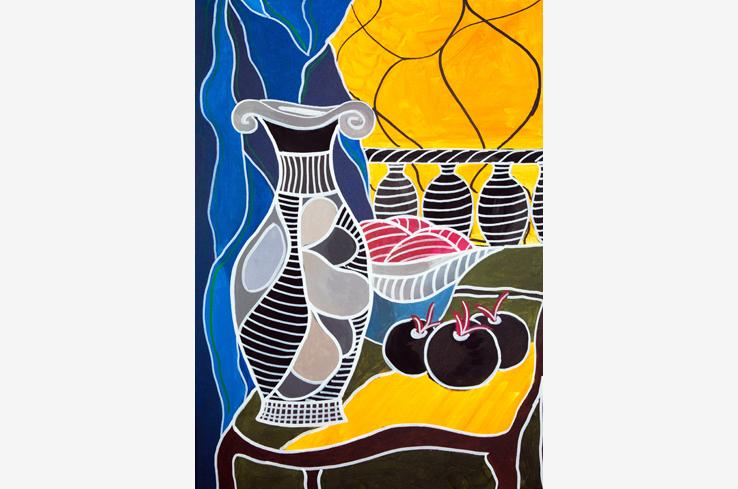 Vase und Früchte